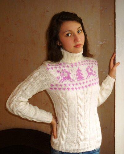 вязаный свитер с оленями женский спицами схема