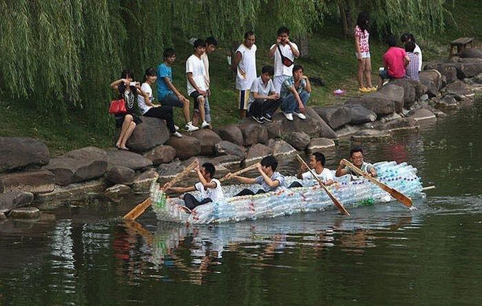 Лодка пластиковых бутылок своими руками