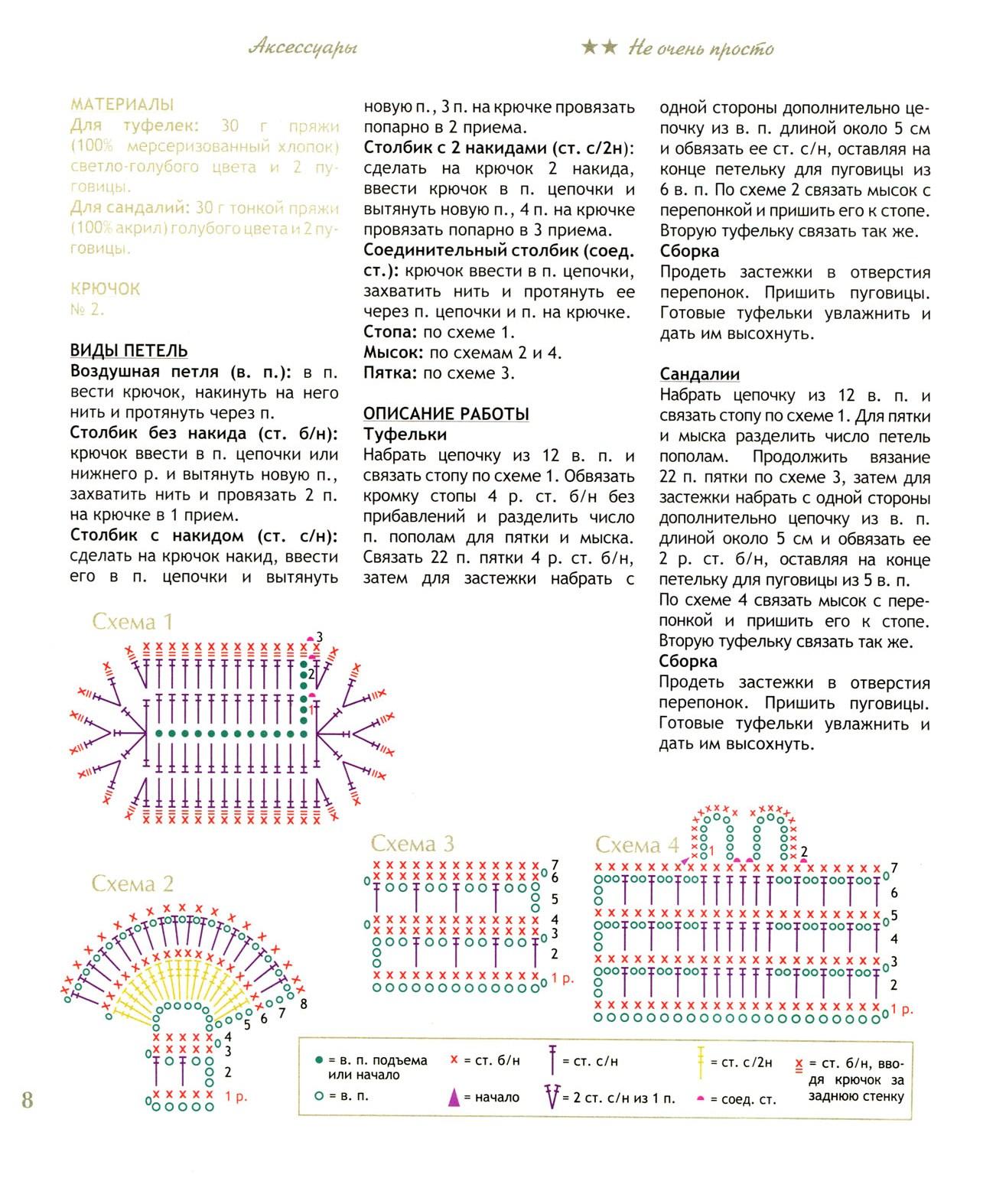 Схема вязания пинеток-туфелек для новорожденных5