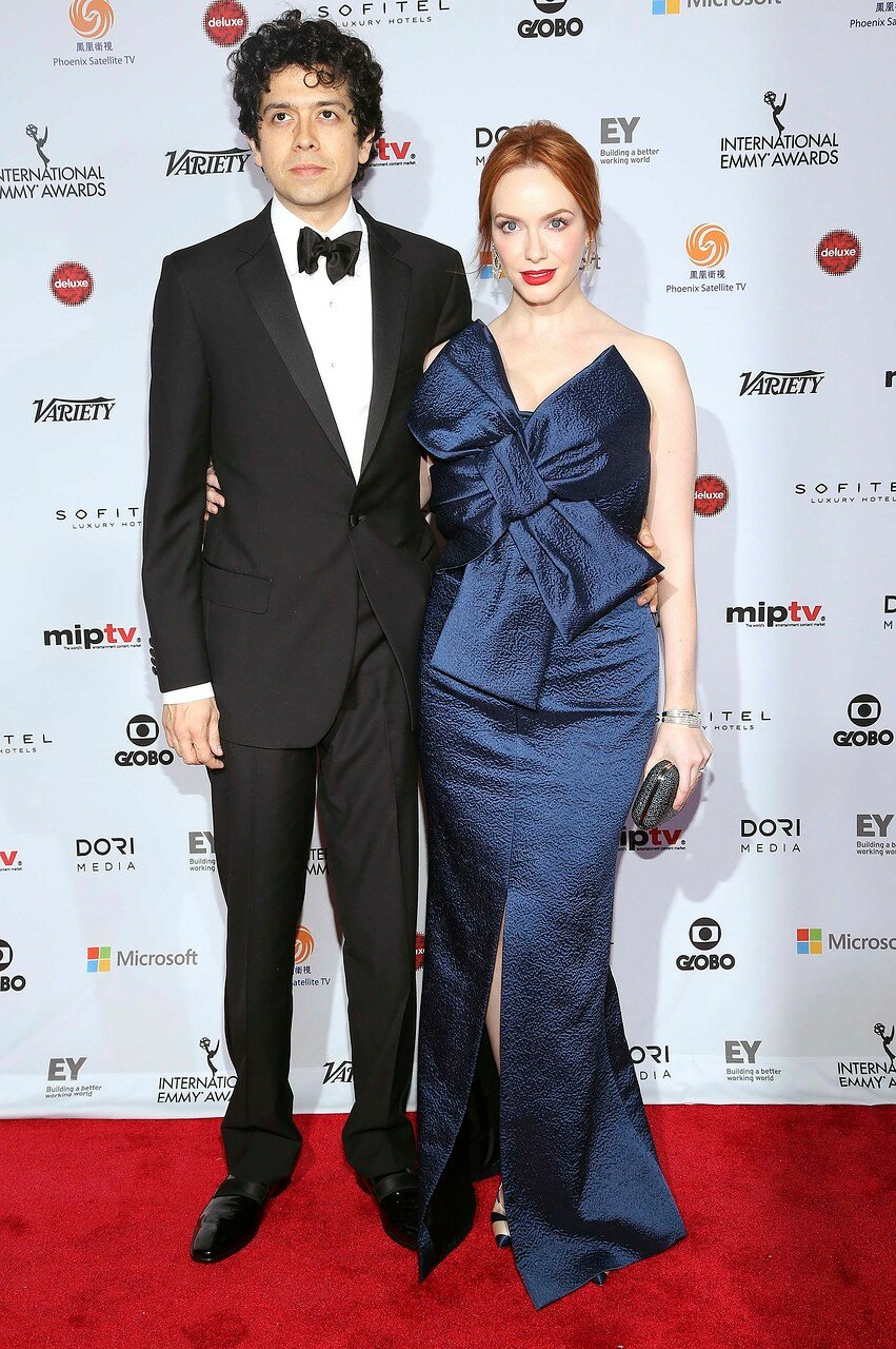 Actress Christina Hendricks and husband Geoffrey Arend arrive for the 42nd International Emmy Awards in New York