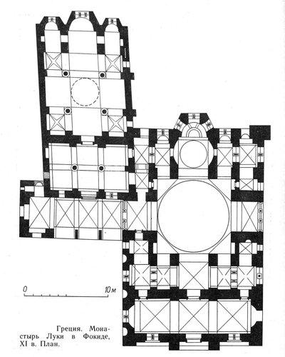 План монастыря Луки в Фокиде, Греция