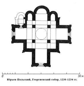 Георгиевский собор в Юрьев-Польском, план