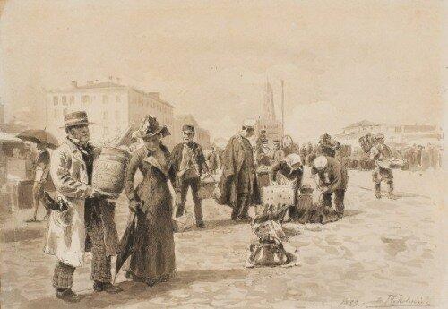 Владимир Егорович Маковский. Рынок на Сухаревке.