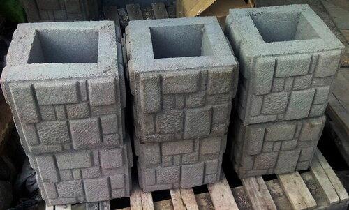 Блок забора столбовой Мозаика. Размер 300 х 300 х 300 мм