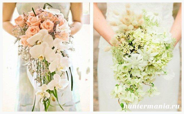 Какие бывают свадебные букеты - каскадный букет