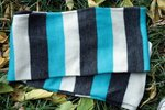 Длинный полосатый яркий Шарф Пеппи. Бело - серо - голубой