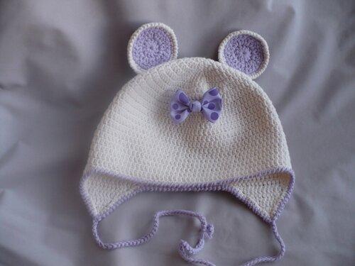 Tığişi fareli bebek şapkası ve atkısı