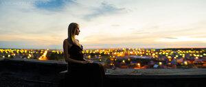 Романтичное свидание портрет, панорамный портрет, закат, панорама