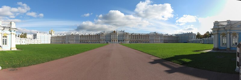 Екатерининский дворец, панорама, фото, Санкт-Петербург, Пушкин, Царское село, Детское село
