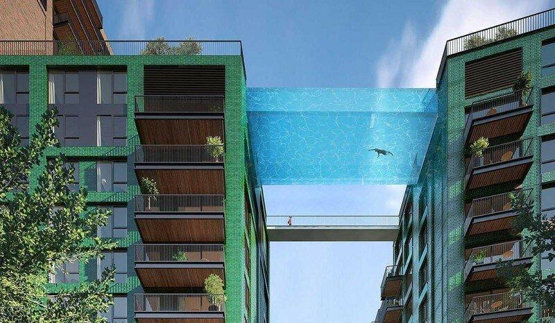 Проект стеклянного бассайна между двумя зданиями в Лондоне. Бассейн будет построен в первой половине 2017 года.