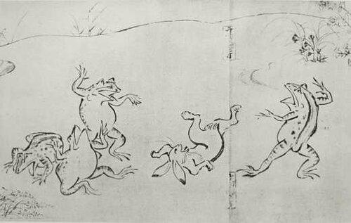 Весёлые картинки из жизни животных. Автор монах Тоба.