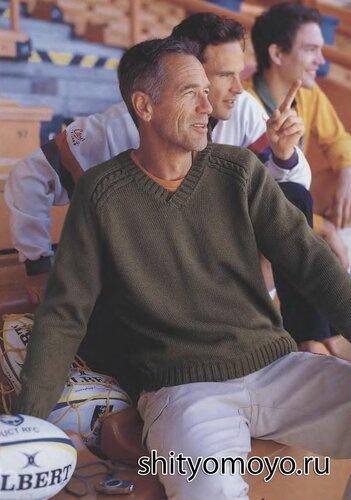 Мужской пуловер с косами, связанный спицами. Описание и схемы бесплатно