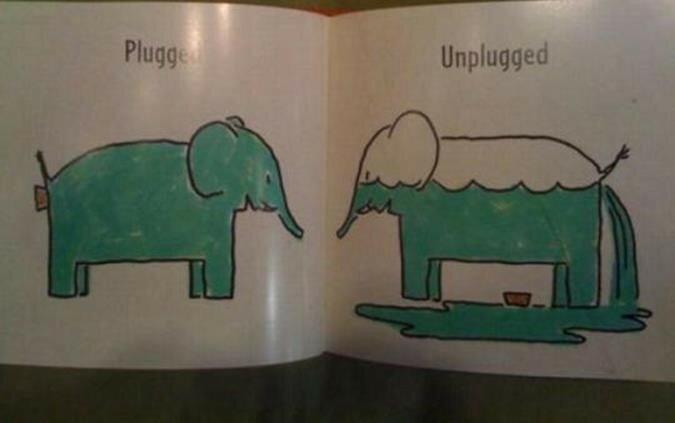 Страницы из странной детской книги о слонах противоречиях