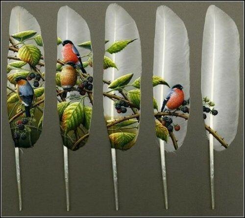 Художник Ян Дэви Рисунки на лебединых перьях