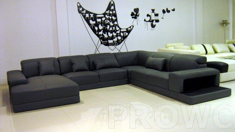 Черный угловой диван фото