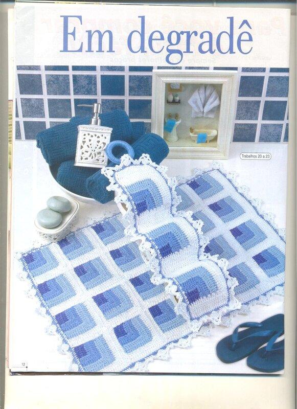 Вязанный коврик для ванной своими руками