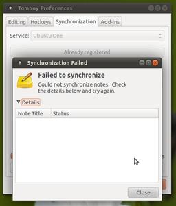 ubuntu one tomboy sync