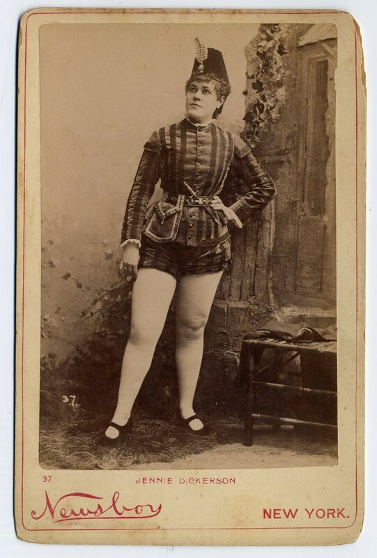 1890 Jennie Dickerson in pseudo-military outfit.