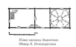 Часовня Знамения Богородицы, Климецкий остров, Карелия, 2-ая половина XVIII века, или в начале XIX в. (по Петтерссону), чертежи