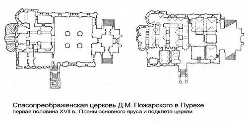 Спасопреображенская церковь Д.М. Пожарского в Пурехе, разрез