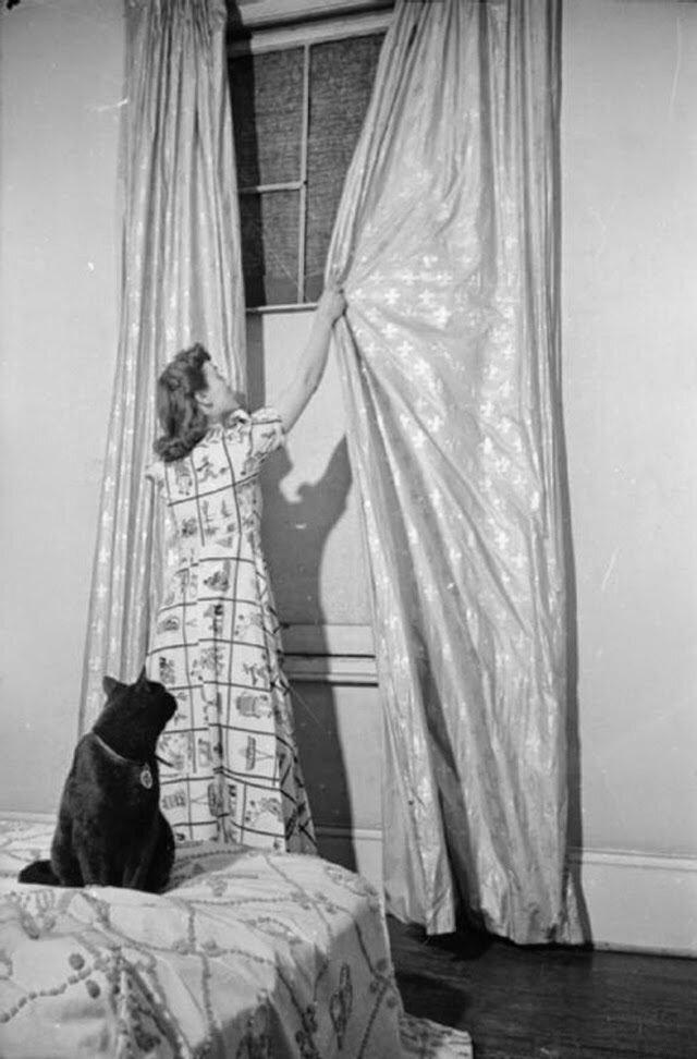 02. Женщина открывает шторы спальни в подвале своего дома. К сожалению, стекла недавно вылетели после воздушного налета