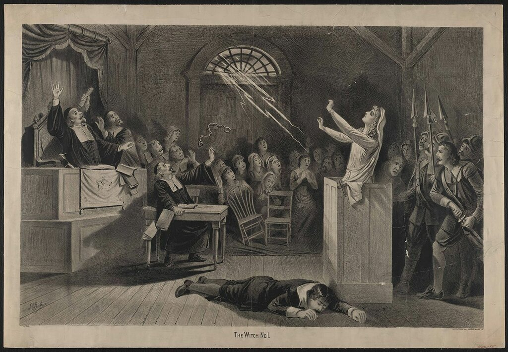 Lithograph by Joseph E. Baker showing the trial of a woman charged with witchcraft, Salem 1892.jpg