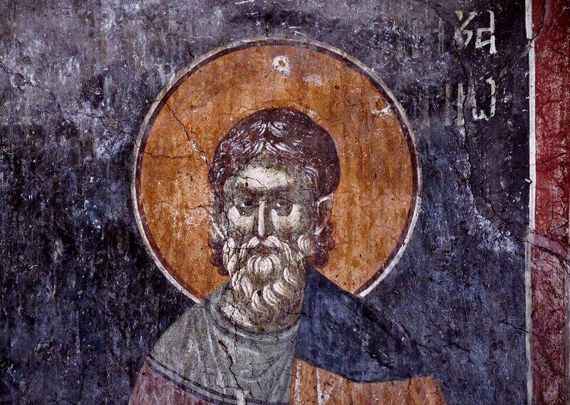 Святой мученик Назарий Медиоланский. Фреска монастыря Грачаница, Косово, Сербия. Около 1320 года.