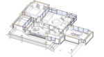 Проект панировки, пояснительные графические материалы, дачного модульного жилого дома с остекленной меблированной террасой-патио, гостиной, спальней, ванной, кухней и столовой и гардеробной. Максим Аммосов.