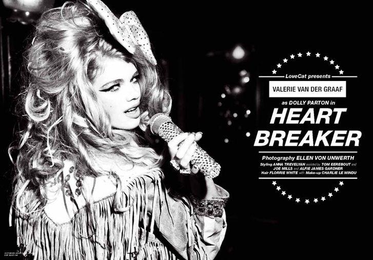 Heart Breaker - Valerie van der Graaf / Валери ван дер Грааф, фотограф Ellen von Unwerth в журнале LoveCat Magazine