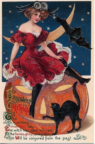 Ретро открытка на Хэллоуин