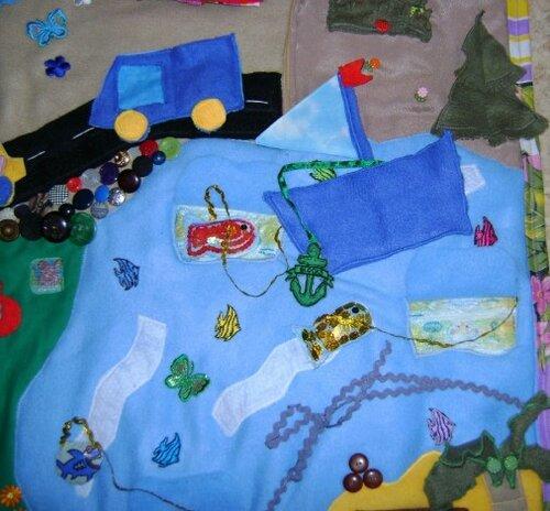 Игровой развивающий коврик... море, кораблик, рыбки