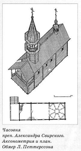 Часовня преп. Александра Свирского, Карелия, 2-ая половина XVIII века, или в начале XIX в. (по Петтерссону), чертежи