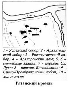 Рязанский кремль, 1222-1225 г., генплан