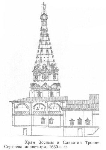 Храм Зосимы и Савватия Троице Сергиева монастыря, фасад