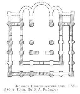 Благовещенский храм в Чернигове, план