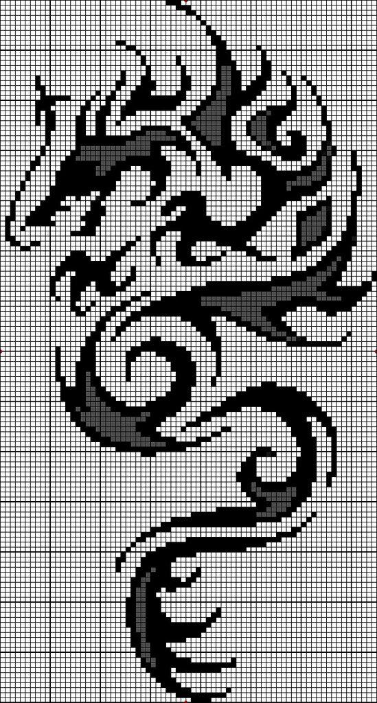 Вышивка дракон гладью схема
