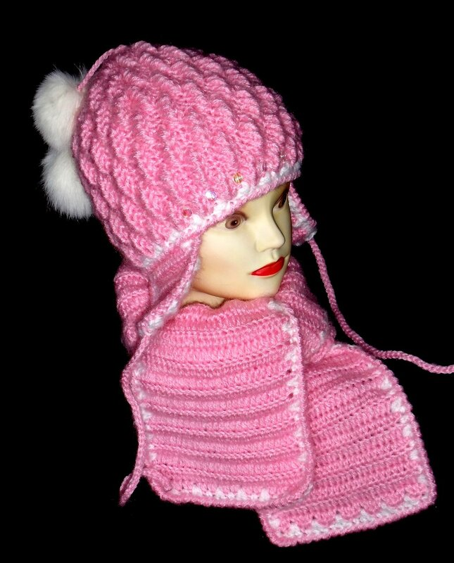 Вязание теплая шапка для девочки