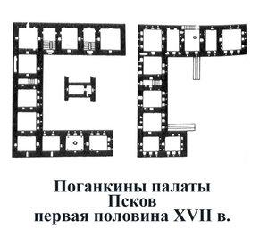 Поганкины палаты во Пскове, план