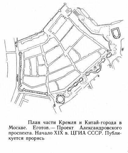 План части Кремля и Китай-города в Москве. Проект Александровского проспекта. Начало XIX в., генплан