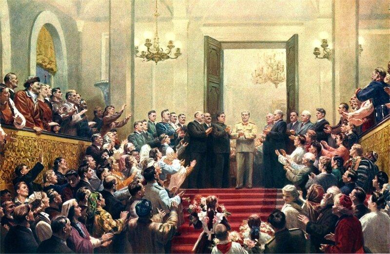 Великому Сталину слава! (худ. Кугач, Нечитайло, Цыплаков, 1950).