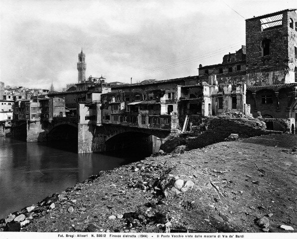 World War II: the Ponte Vecchio, seen from the rubble of Borgo S. Jacopo, in Florence after the bombing. This photograph was formerly part of the Brogi Collection, but now belongs to the Alinari Collection