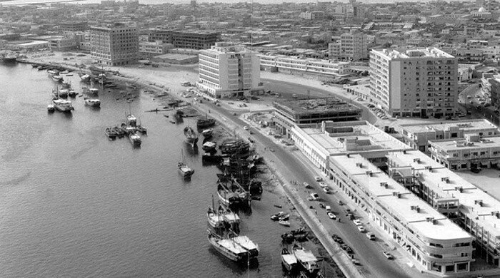 Набережная линия в городе Дубай. 1950-е.