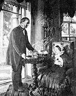 Картина К. Е. Маковского «Помещица» (портрет Л. В. Тарновской и ее старого слуги, бывшего крепостного Ивана Тихоновича)