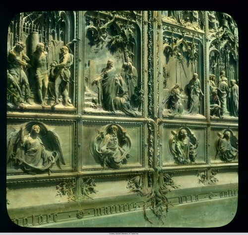 Milan. Cathedral (Duomo): detail of doors, by Lodovico Pogliaghi (ca. 1908)