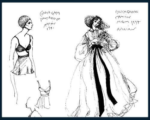 1. Эскиз Адриана к фильму Двуликая женщина, 1941   2. Эскиз Адриана к фильму Дама с камелиями, 1936