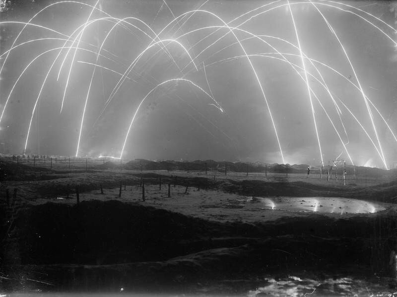 Long-exposure photograph of artillery shelling in WWI; ca.1917..jpg