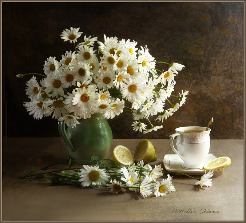 Чай с ромашками и лимоном
