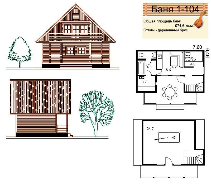 Проекты бань площадью свыше от 50 до 100 кв.м.