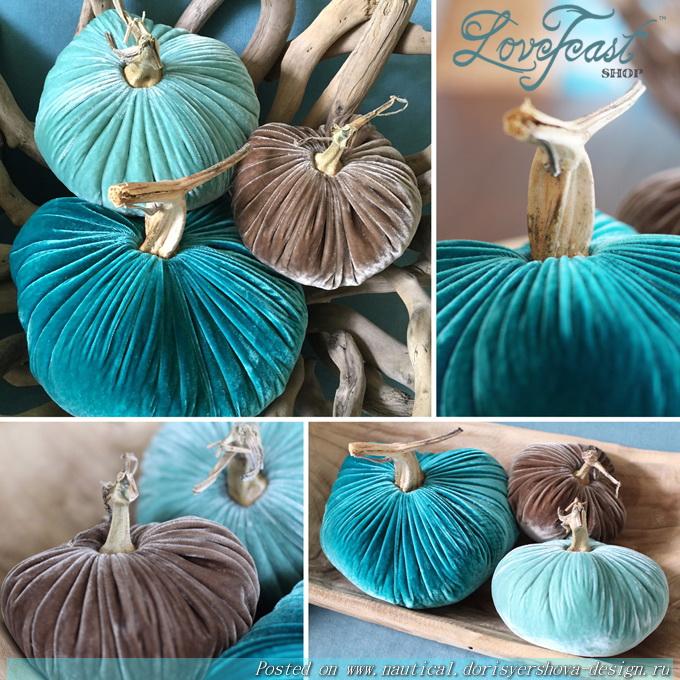 ТЫКВА-МАРИН, бархатные тыквы в цветах моря, бирюзовый, декор, интерьер, украшение для интерьера, тыквы-дизайн, осень