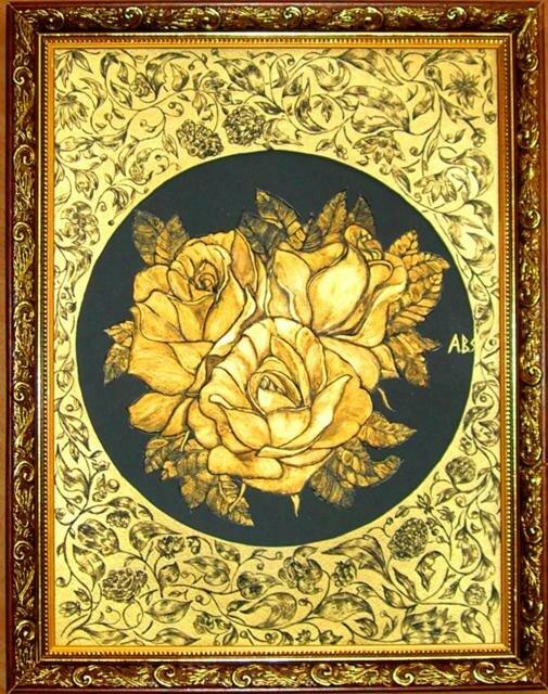 """Оригинал - Схема вышивки  """"Золотые розы """" - Схемы автора  """"anor """" - Вышивка крестом."""